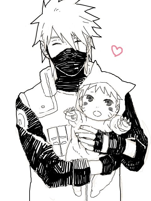 anime, child, cute, drawing, hatake, kakashi, manga, naruto, uzumaki
