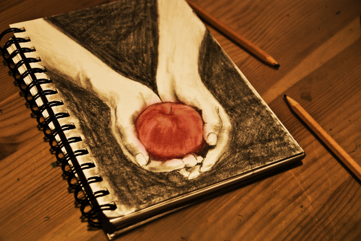apple, drawing, hand, hands, red