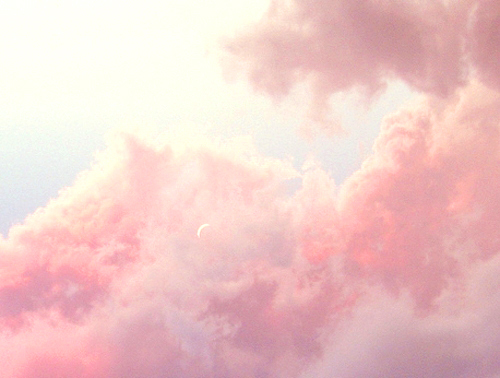 art, beautiful, blue, clouds, lovely, moon, pastel, photography, pink, sky