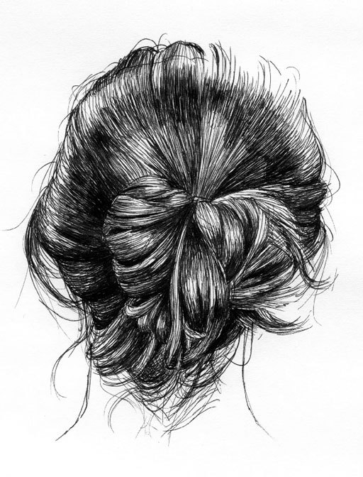 art, black and white, bun, drawing, girl, hair