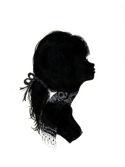 art, black and white, cameos, charmaine olivia, illustration, modern, profiles