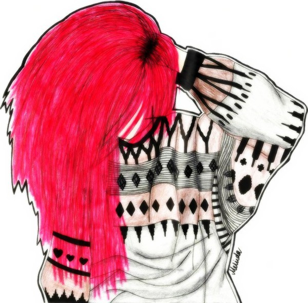 art, blog, draw, drawing, fashion, girl, hipster, hipster sweater, promarkers, red head, redhead, sweater