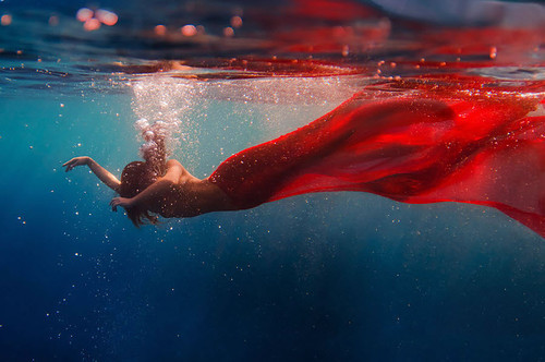 art, blood, dress, girl, model, photography, red, sea, swiming, water