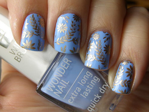 art, blue, gold, nailpolish, nails, pretty