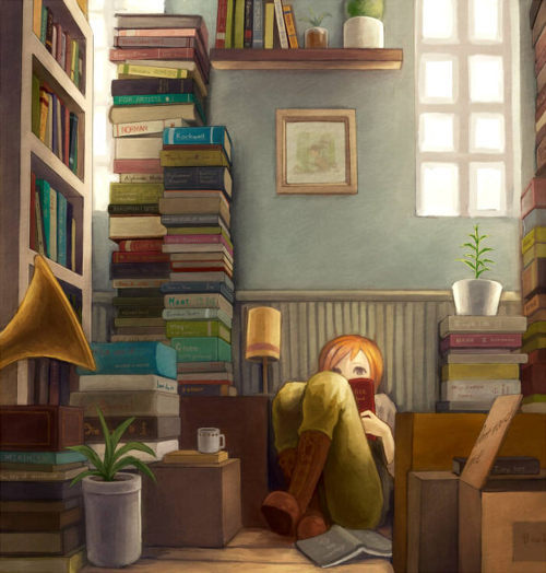 art, book, books, girl, read, reading