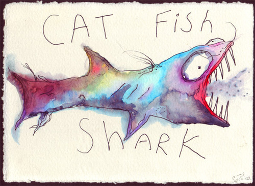 art, cat fish shark, drawing, matthew gray gubler, painting