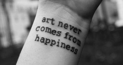 art, come, hand, happiness, never, quote, sorrow, tattoo, text, word, words