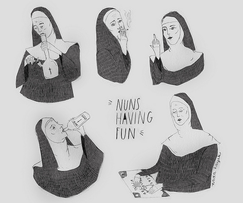 art, drawing, drinking, fun, funny, illustration, lol, nun, nuns, nuns having fun, smoking