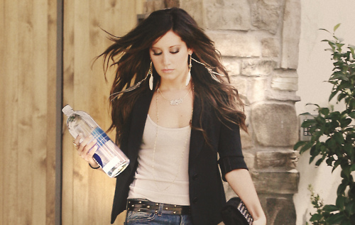 ashley tisdale, bottle, brunette, curly hair, denim