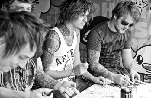 asking alexandria, band, ben bruce, black, black and white