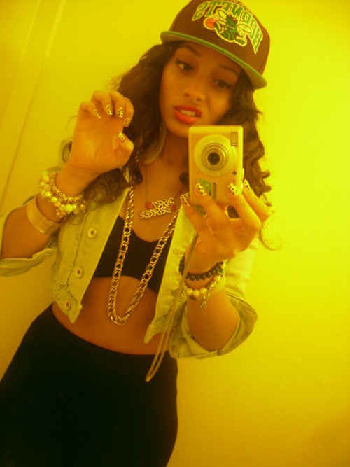 attitude, camera, curly hair, fashion, girl, hair, hot, hottt, jewlery, sexy, snapback, style, swag, swagg