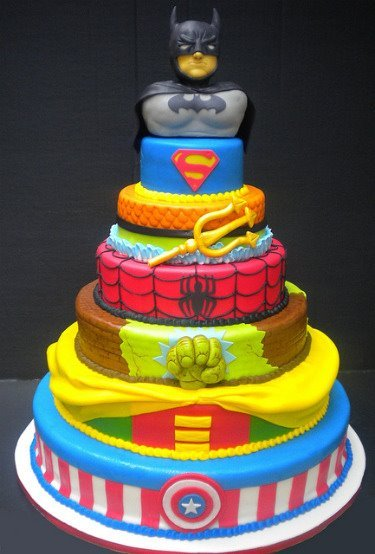 awesome, batman, cake, super hero, superman