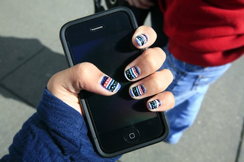 aztec, cute, ipod, nails, phone, tribal, tribal nails