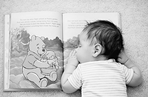 baby, black and white, book, childhood, cute