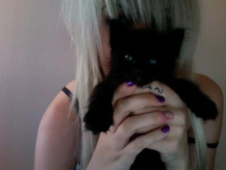 baby, black kitten, blonde hair, cute, girl
