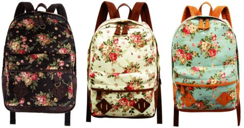backpack, bag, black, blue, floral, flowers, nice, pretty, white