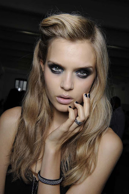 backstage, beauty, blonde, catwalk, fashion, fashion show, gorgeous, josephine skriver, make up, model, portrait, smokey eye, smokey eyes