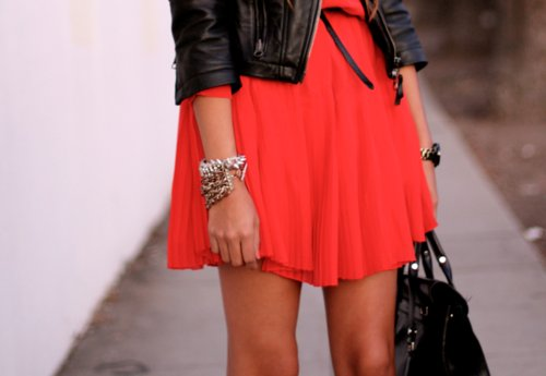 bag, biker jacket, bracelets, dress, fashion, jacket, jewelry, leather, leather jacket, orange, purse, red dress, skirt, style, summer, tan, woman