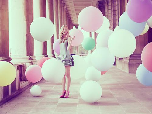 balloon, balloons, blonde, classy, colourful, cute, fun, girl, pretty, summer