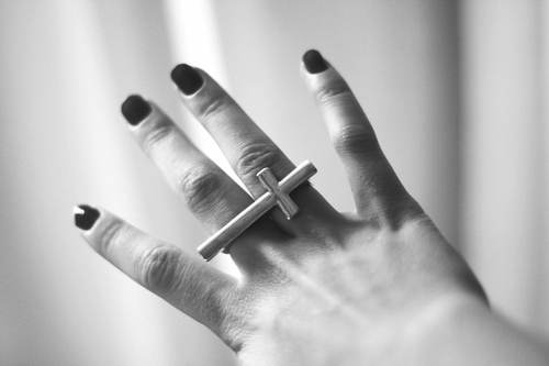 b&w, black and white, black nail, black nails, cross, cross ring, finger, fingers, hand, nail, nails, ring