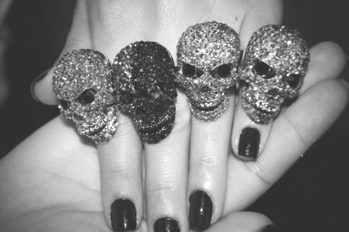 b&w, black and white, black nail, black nails, finger, fingers, hand, hands, nail, nails, ring, rings, skull, skull ring, skulls