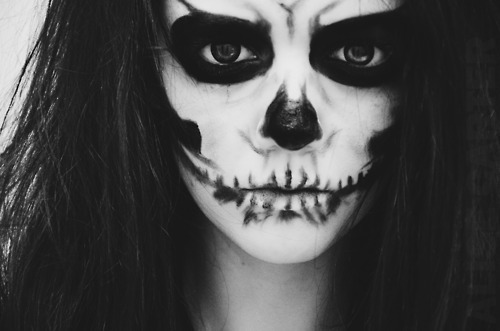 b&w, black and white, cool, fever ray, girl, make up, skull, the knife, zombie