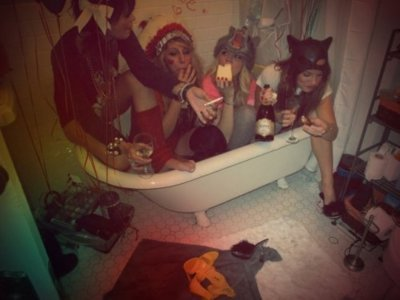 bath, blonde, brunette, drinking, drunk