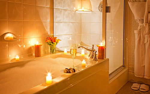 bathroom, bathtub, bubbles, candles, champagne, flowers, hot tub, lights, luxury, pink