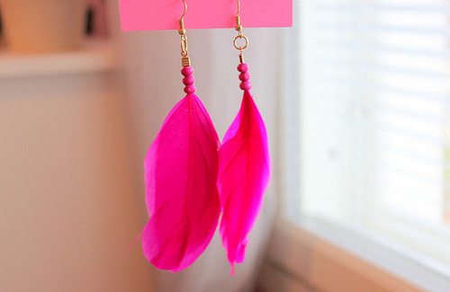 beach, beautiful, bright pink, earrings, feather