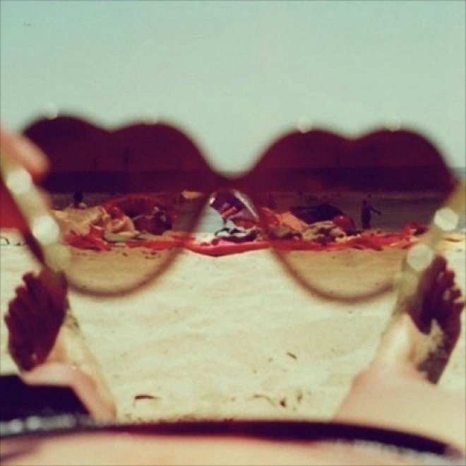 beach, coracao, heart, summer, sunglass