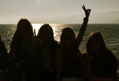 beach, friends, girls , peace, santa monica