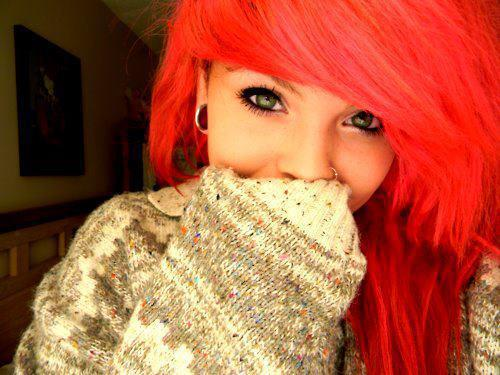 beautiful, beauty, cool, eyes, face, fashion, girl, hair, make up, piercing, pretty, pullover, red, style