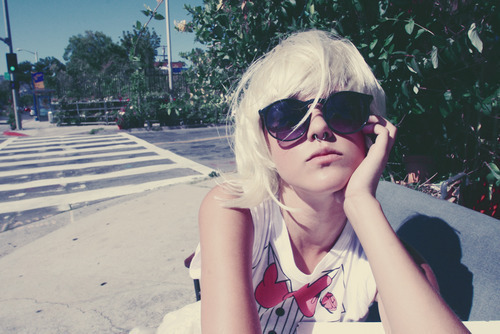 beautiful, beauty, cute, dyed hair, fashion, girl, hair, love, piercing, skinny, sunglasses, thin, thinspo, white hair