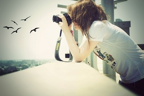 beautiful, birds, camera, chica, cute