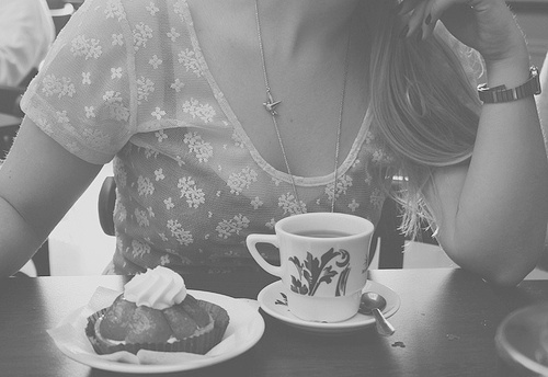 beautiful, black and white, caffee, cake, chain, cup, cute, friend, girl, grey, lace, long hair, perfect, plate, pretty, shop, t-shirt, table, talk, tea, vintage, watch