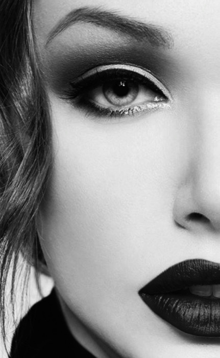 beautiful, black and white, eyes, girl, hair, lips, mae up, make, stile