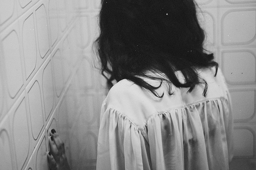 beautiful, black and white, girl, hair black, sad