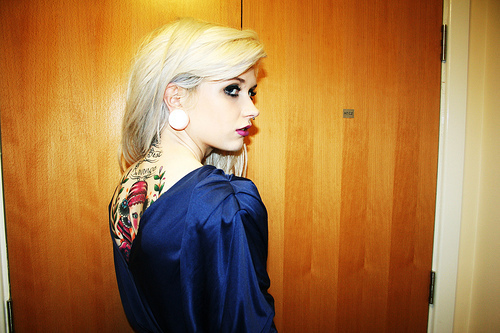 beautiful, blond, cool, fashion, girl, hot, ink, nice, plugs, style, tattoo, tattoos