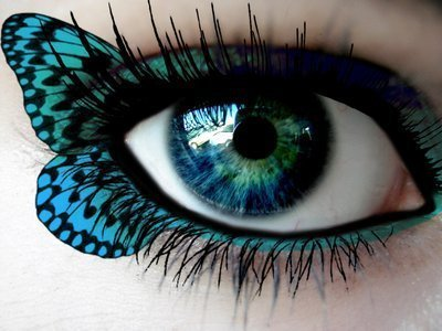 beautiful, blue eyeshadow, bluegreen eyes, butterfly, eye