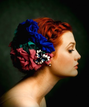 beautiful, bows, braid, flowers, ginger, girl, hair, hairstyle, pretty, red hair, redhead, ribbons