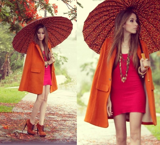 beautiful, cape, clothes, come rain or come shine, dress, fashion, flavia desgranges, girl, hair, lookbook, love, model, necklace, parasol, photography, pink, pretty, shoes, style, tree, umbrella, weather, woman, yellow