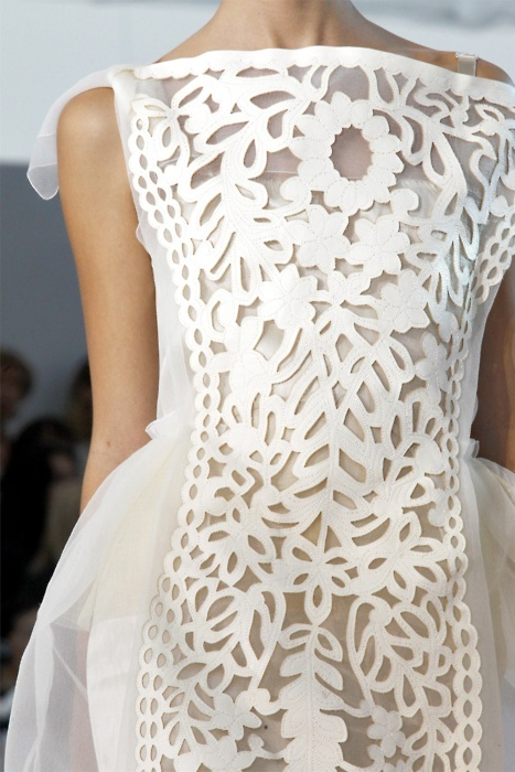 beautiful, couture, cutout, dress, fashion, flowers, girl, girly, glamour, louis vuitton, pattern, pretty, runway, spring summer 2012, stencil, style, white
