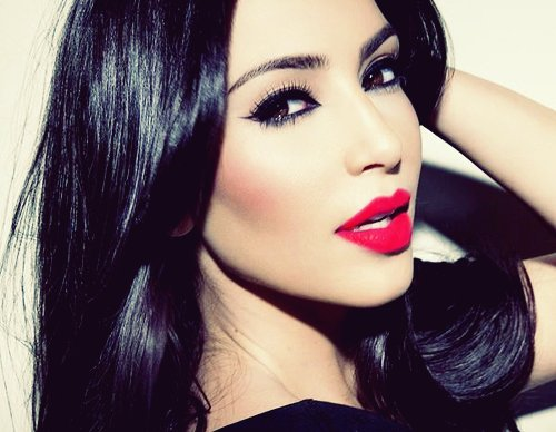 beautiful, eyes, girl, gorgeous, hair, kim kardashian, lips, makeup, pretty, red lips, skin