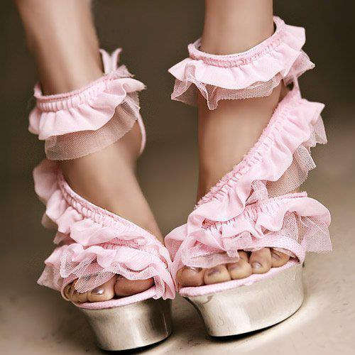 beautiful, fashion, heels, high heels, pink, ruffles, shoes