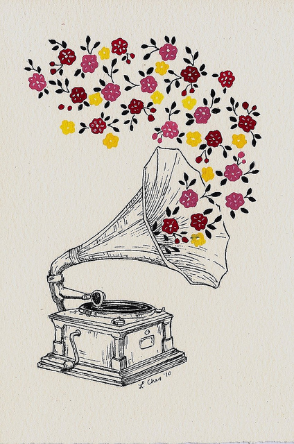 beautiful, flowers, illustration, music, pattern, phonograph, sound
