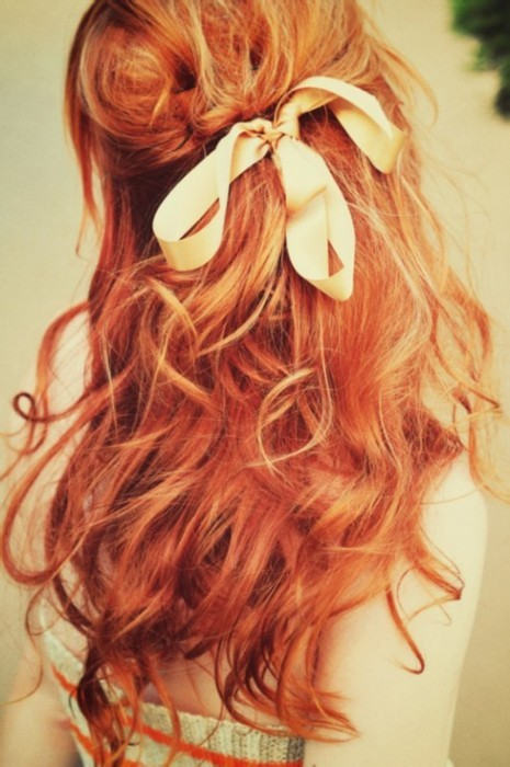 beautiful hair, bow, ginger, girl, hair
