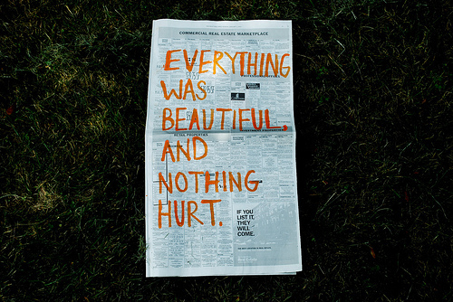 beautiful, hurt, meaning, newspaper, quote