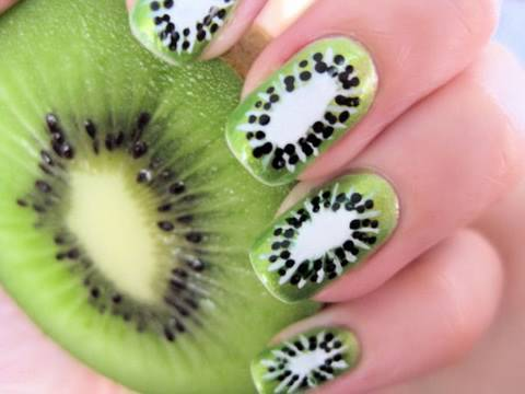 beautiful, kiwi, nails