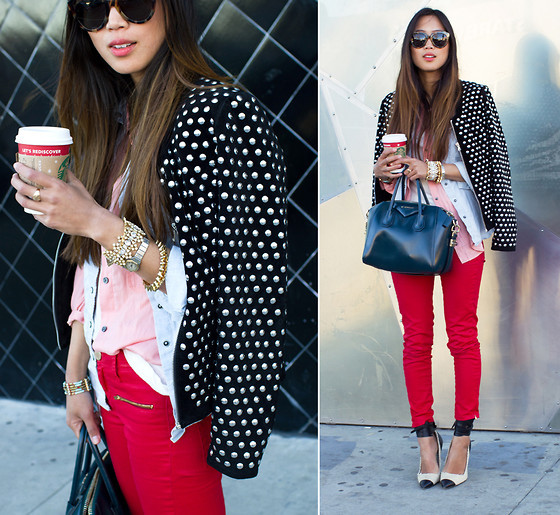 beauty, coffee, fashion, girl, glasses, jacket, pants, red, song, starbucks, studded, style