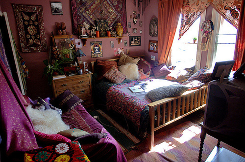bed, bedroom, colors, hippie, room